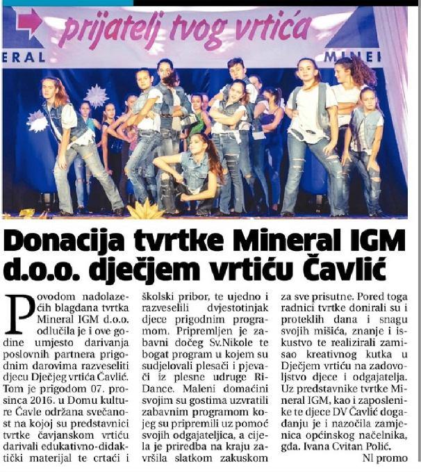 Mineral- Prijatelj tvog vrtića (7. 12. 2016.)
